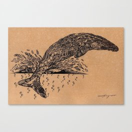 rubbish whale coffee ink Canvas Print