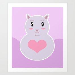 Kawai Cat  Art Print