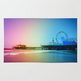 Santa Monica Pier Rainbow Colors Rug
