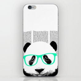 Panda with teal glasses iPhone Skin