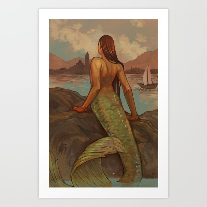 The Mermaid Watches Art Print