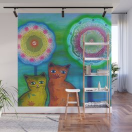 Cats and Trees Wall Mural