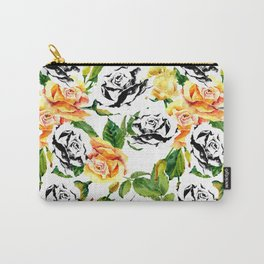 Modern abstract hand painted orange black white roses Carry-All Pouch