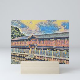 Longhouse Near a Riverboat Canal V2 Mini Art Print