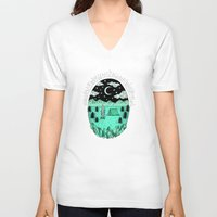 camping V-neck T-shirts featuring Gone Camping by Rachel Bennett Designs