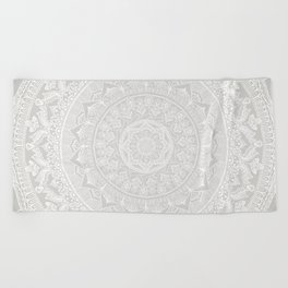 Mandala Soft Gray Beach Towel