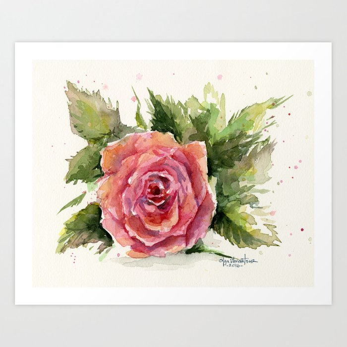 Red Rose Watercolor Pink Rose Flower Floral Art Art Print By Olechka