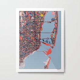 Miami Florida Abstract Map Art Metal Print