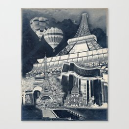 French Collage v1 Negative Canvas Print