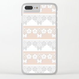 Peach-colored lace . Clear iPhone Case
