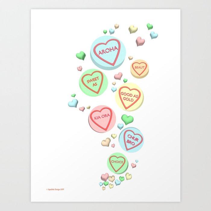 Kiwi Conversation Hearts by Squibble Design Art Print