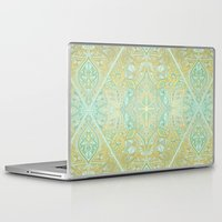 bedding Laptop & iPad Skins featuring Mint & Gold Effect Diamond Doodle Pattern by micklyn
