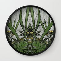 plants Wall Clocks featuring Plants by Gun Alfsdotter