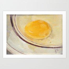 'Humpty Horror' Egg Yolk on Plate Still Life Realistic Oil Painting Art Print