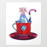 Teacup Kitty Art Print
