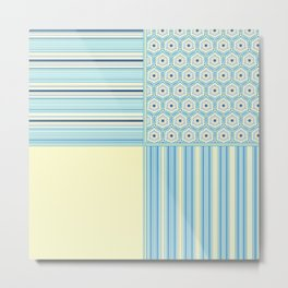 Summer Blues and Yellow Multi Pattern Design Metal Print