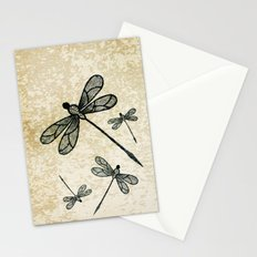 Dragonflies on tan texture Stationery Cards