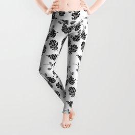 Oak Leaf linocut black and white lino illustration printmaking fall autumn winter home decor minimal Leggings