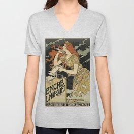 Belle Epoque vintage poster, Encre Unisex V-Neck