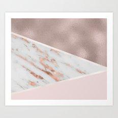 Lilac Lemonade - rose gold marble Art Print