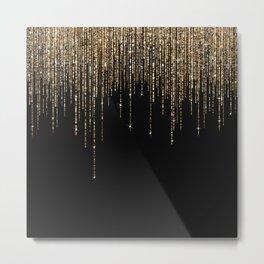 Luxury Chic Black Gold Sparkly Glitter Fringe Metal Print