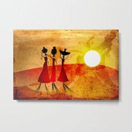 Africa retro vintage style design illustration Metal Print