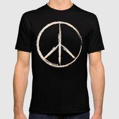Peace in peach Mens Fitted Tee Black MEDIUM
