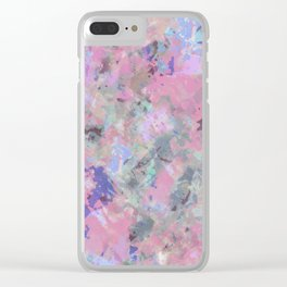 Pink Blush Abstract Clear iPhone Case