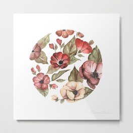 Circular Pink Florals Metal Print