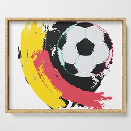 Football ball and red, yellow strokes Serving Tray
