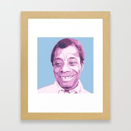 James Baldwin Portrait Blue Purple Framed Art Print
