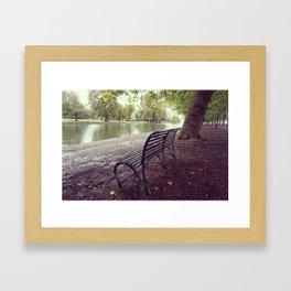 Riverside Iron Bench Framed Art Print