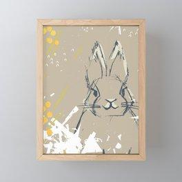 Bunny Portrait M+M Latte by Friztin Framed Mini Art Print