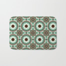 Decorative Christmas patterns in red, green and white Bath Mat