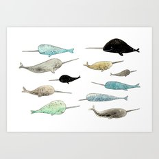Narwhals! Art Print