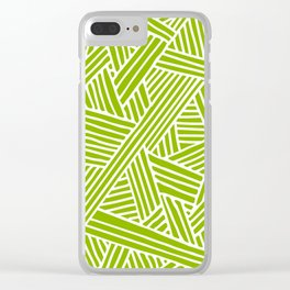 Abstract apple green & white Lines and Triangles Pattern- Mix and Match with Simplicity of Life Clear iPhone Case