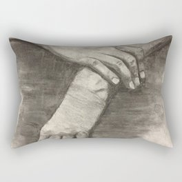 Charcoal Hands - human anatomy Rectangular Pillow