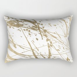 Artistic white abstract faux gold paint splatters Rectangular Pillow
