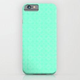 Aquamarine Interlocking Square Pattern iPhone Case
