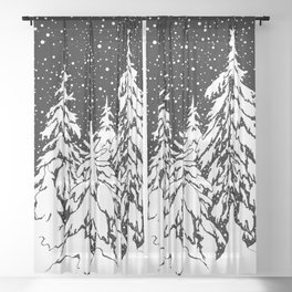 Winter forest Sheer Curtain