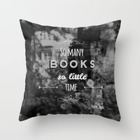 zappa Throw Pillows featuring So many books, so little time by Jane Mathieu