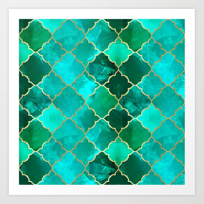 Green Quartz & Gold Moroccan Tile Pattern Art Print