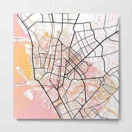 Manila Philippines Watercolor Street Map Color Metal Print