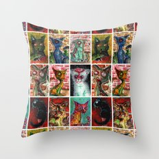 9 Zombie Cats version 2 Throw Pillow