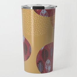Geometrical brown blue burgundy hand painted autumn leaves Travel Mug