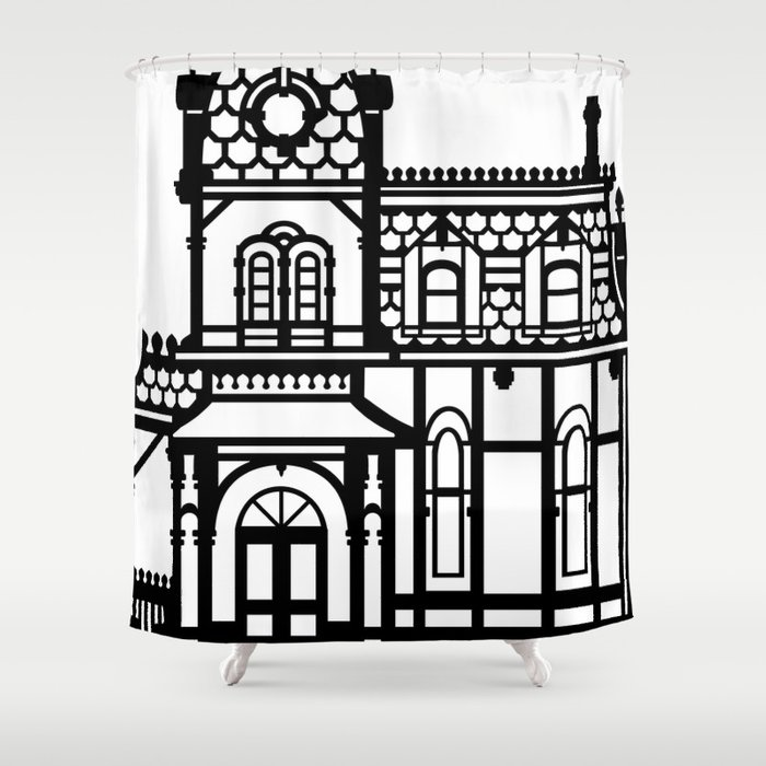 Old Victorian House - black & white Shower Curtain