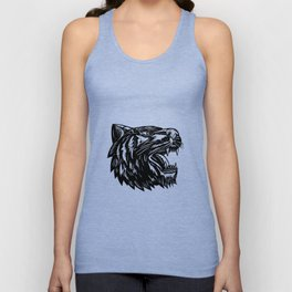 Growling Tiger Woodcut Black and White Unisex Tank Top