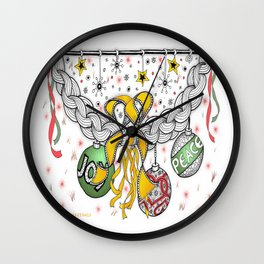 Zentangle Happy Holiday Swag for Peace, Love and Joy at Christmas Wall Clock
