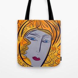 Orange purple pop girl portrait Tote Bag