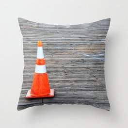 Warning Cone Throw Pillow